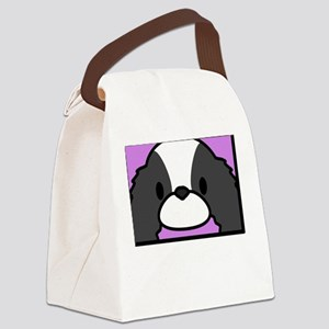 anime_japanesechinbw_blk Canvas Lunch Bag