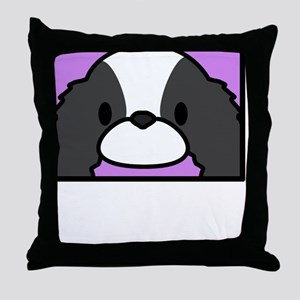 anime_japanesechinbw_blk Throw Pillow