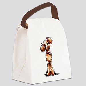 Girly Apricot Poodle Canvas Lunch Bag