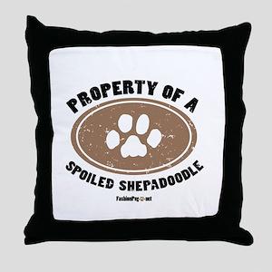 Shepadoodle dog Throw Pillow