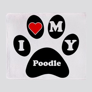 I Heart My Poodle Throw Blanket