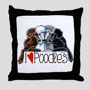 Love Poodles Throw Pillow