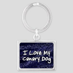 canarydog_funkylove_oval Landscape Keychain