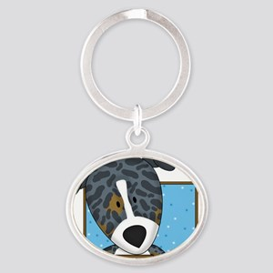 catahoula_cartoon_blk Oval Keychain