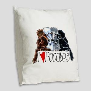 Love Poodles Burlap Throw Pillow