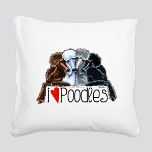 Love Poodles Square Canvas Pillow
