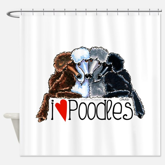 Love Poodles Shower Curtain