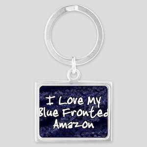 funklove_oval_bluefront Landscape Keychain