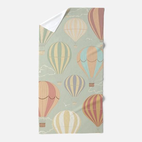 Vintage Hot Air Balloons Beach Towel