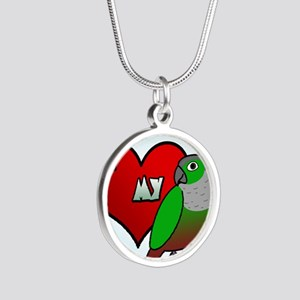 iheartmy_greencheekedconure_ Silver Round Necklace