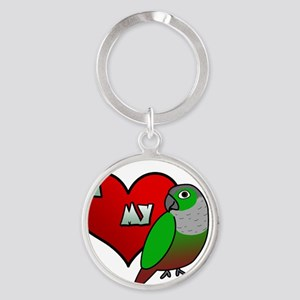 iheartmy_greencheekedconure_blk Round Keychain