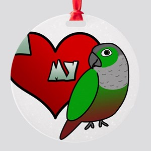 iheartmy_greencheekedconure_blk Round Ornament