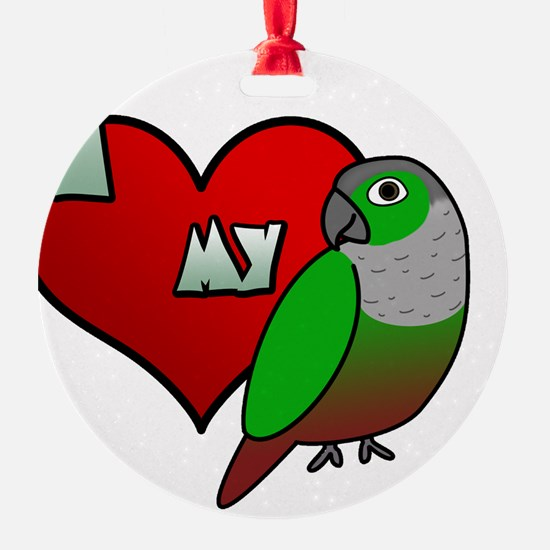 iheartmy_greencheekedconure_blk Ornament