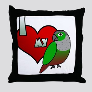 iheartmy_greencheekedconure_blk Throw Pillow