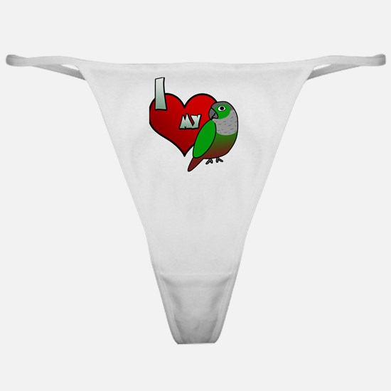 iheartmy_greencheekedconure_blk Classic Thong