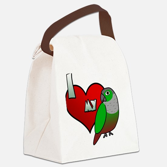 iheartmy_greencheekedconure_blk Canvas Lunch Bag