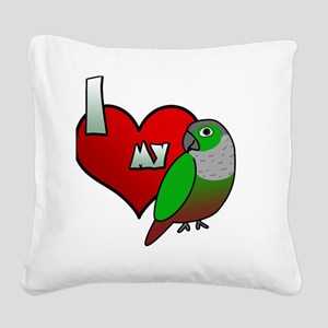 iheartmy_greencheekedconure_b Square Canvas Pillow