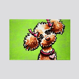 Apricot Poodle Girly Green Rectangle Magnet
