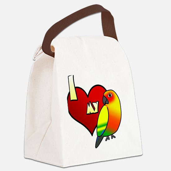 iheartmy_sunconure_blk Canvas Lunch Bag