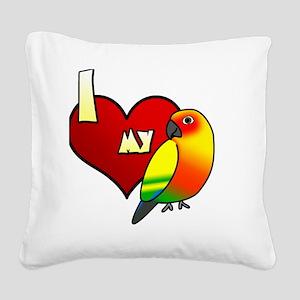 iheartmy_sunconure_blk Square Canvas Pillow