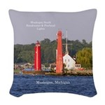 Muskegon Entrance Lights Woven Throw Pillow