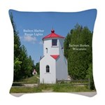 Baileys Harbor Range Lights Woven Throw Pillow