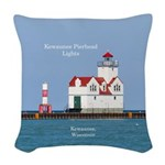 Kewaunee Pierhead Lights Woven Throw Pillow