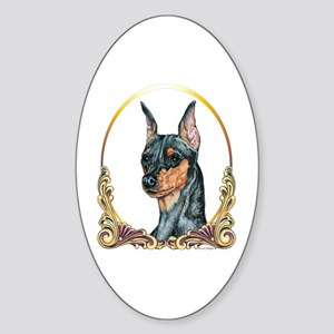 Miniature Pinscher Holiday/Xmas Oval Sticker