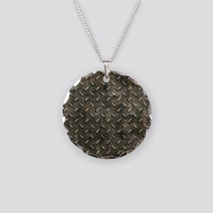 Gray Stamped Oval Metal Effect Necklace