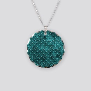 Turquoise Oval Stamped Metal Effect Necklace