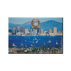 San Diego Police Skyline Rectangle Magnet (100 pac
