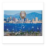 San Diego Police Skyline Square Car Magnet 3