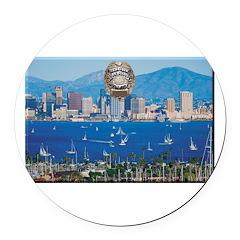 San Diego Police Skyline Round Car Magnet