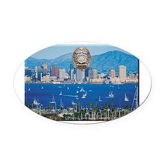 San Diego Police Skyline Oval Car Magnet