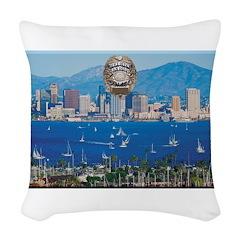 San Diego Police Skyline Woven Throw Pillow