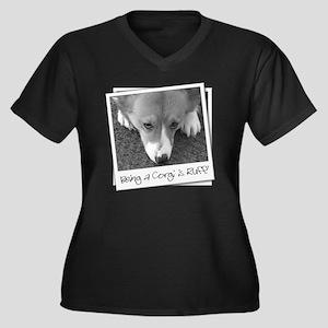 corgi_ruff_b Women's Plus Size Dark V-Neck T-Shirt