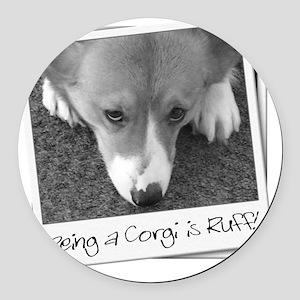 corgi_ruff_blk Round Car Magnet