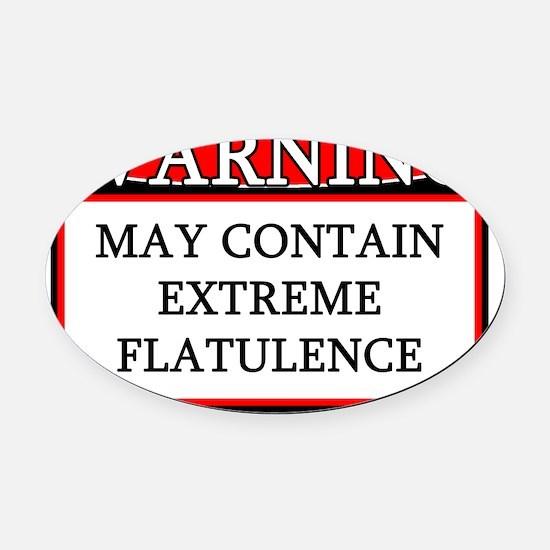 warning_extremeflatulence Oval Car Magnet