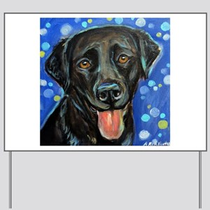 Black Labrador smile Yard Sign