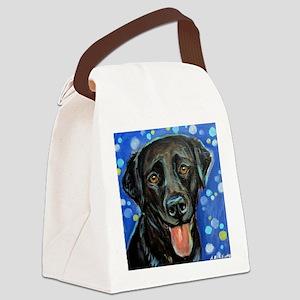 Black Labrador smile Canvas Lunch Bag