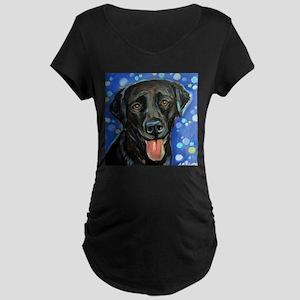Black Labrador smile Maternity T-Shirt