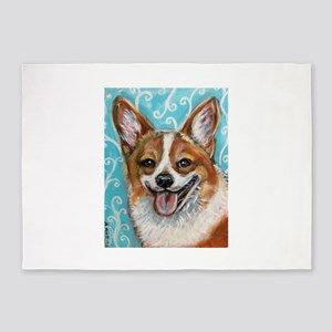 Welsh Corgi Smile 5'x7'Area Rug