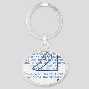 herecomethe_softcoat_blk Oval Keychain