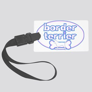 cutesy_borderterrier_oval Large Luggage Tag
