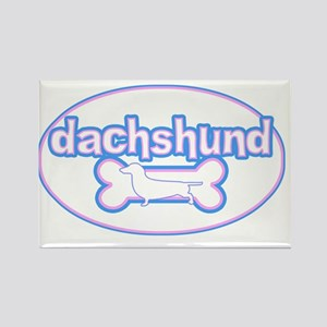 cutesy_dachshund_oval Rectangle Magnet