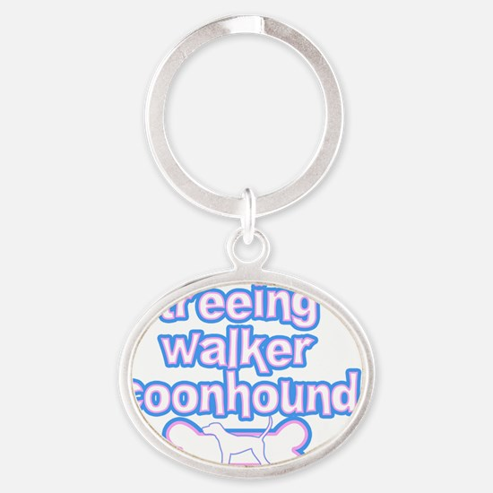 cutesy_treeing_sticker Oval Keychain