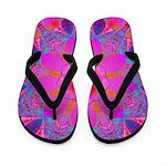 Colorful Pink Fractal Flip Flops