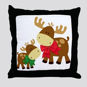 Merry Chris Moose Mom and Baby Throw Pillow