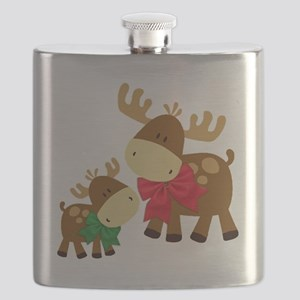 Merry Chris Moose Mom and Baby Flask