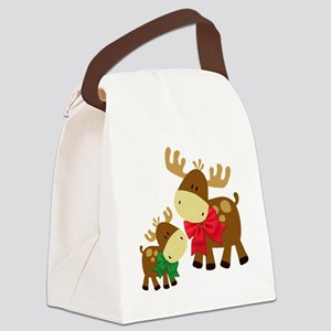 Merry Chris Moose Mom and Baby Canvas Lunch Bag
